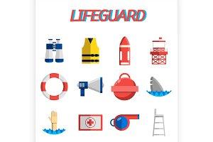 Lifeguard flat icon set