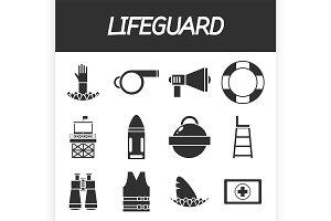 Lifeguard icon set