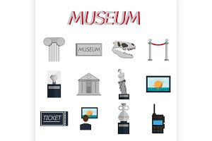 Museum flat icons set