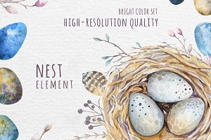 Watercolor easter set, aggs and nest