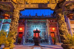 Hainan Temple at dusk, Gergetown, Penang, Malaysia.