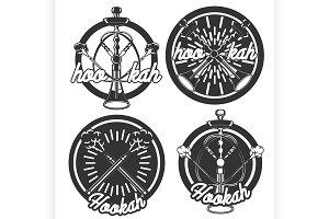 Vintage hookah emblems