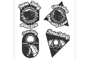Vintage Horse riding emblems