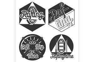 Vintage rafting emblems