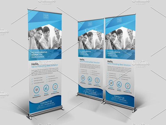 roll up banner template flyer templates creative market
