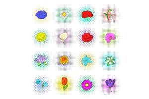 Flower icons set, pop-art style