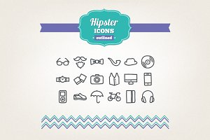 Hand drawn hipster icons