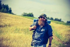 man goes camping