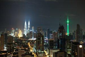Night cityscape of Kuala Lumpur