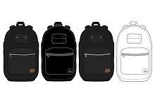 Black urban backpack set. Vector