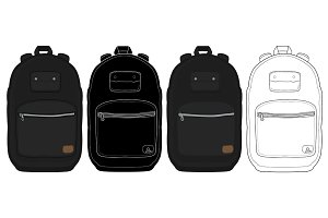 Black urban backpack set. Vector