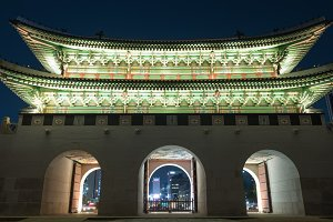 Illuminated Gwanghwamun Gate