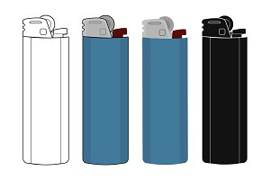 Pocket gas lighters icons. Vector