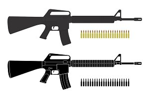 Assault rifles with bullets. Vector