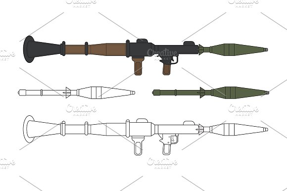Rocket launcher with missile. Vector - Illustrations