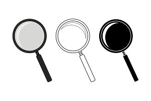 Magnifying glass tool set. Vector