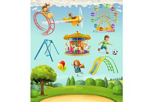 Children playground vector icons