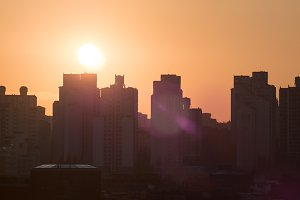 City buildings at warm light