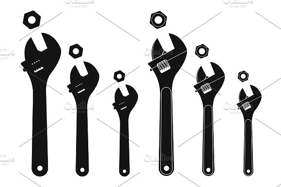 Mechanical wrenches. Vector - Illustrations