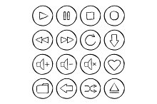 Multimedia. 16 icons. Vector