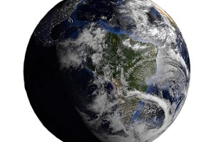 Planet Earth with clouds isolated