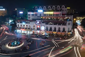 Night motion shot of city traffic
