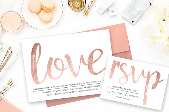 rose gold wedding invitation templates creative market