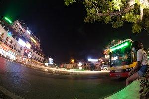 Night traffic on Hanoi road