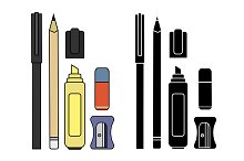 Stationery writing tools set. Vector