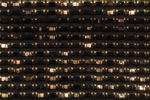 Multistorey block of flats at night