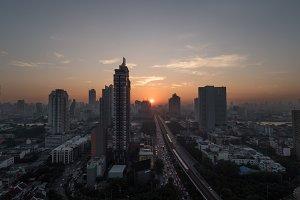 Bangkok cityscape at sunset