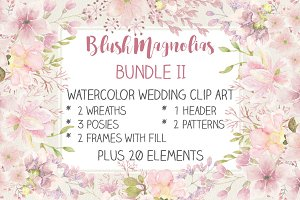 Watercolor wedding clipart bundle II
