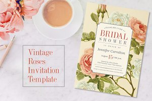 Vintage Roses Shower Invitation