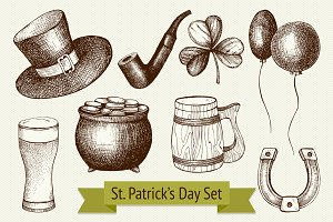 Hand drawn St. Patrick's Day set