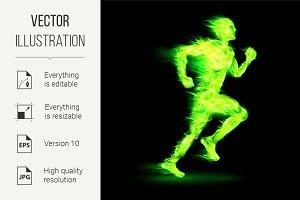 Green fiery running man