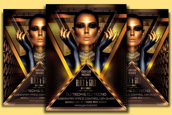 black gold flyer template flyer templates creative market