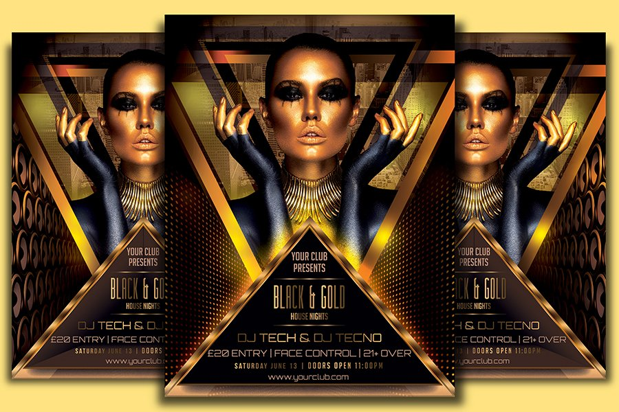 black gold flyer template flyer templates creative market