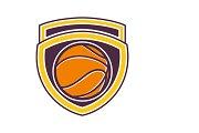 Basketball Ball Shield Retro