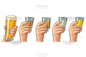 Male hand holding glasses with alco
