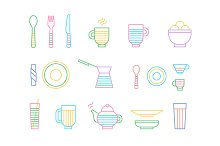 Food and dinnerware. Set of icons