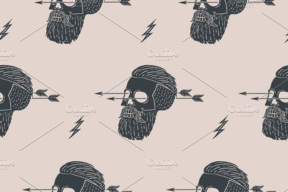 Seamless pattern. Hipster skull - Patterns