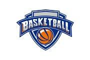 Basketball Ball Shield Text Retro