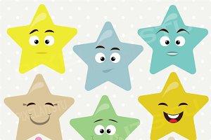 Happy Cute Stars Vector Clip Art