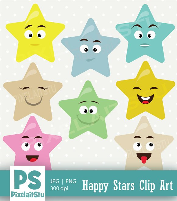 Happy Cute Stars Vector Clip Art