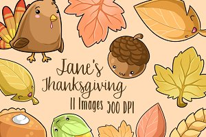 Kawaii Thanksgiving Clipart