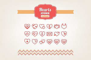Hand drawn hearts icons