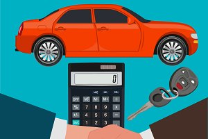 car loan concept, calculator, vector