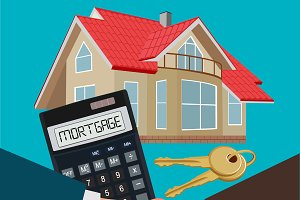mortgage concept, handshake, vector