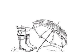 rain boots and umbrella, sketch