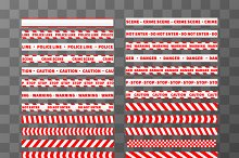 Seamless red and white caution tapes